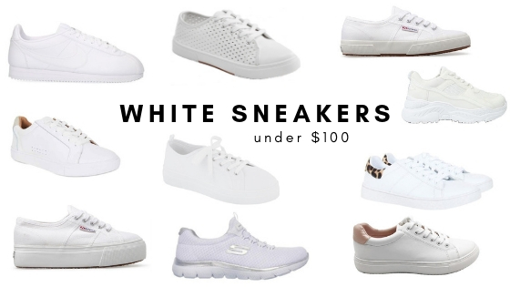Women's white sneakers under $100