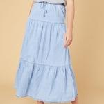 chambray maxi skirt