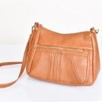 stitch pocket tan shoulder bag